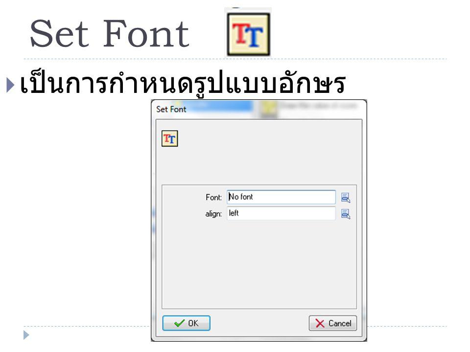 Set Font เป็นการกำหนดรูปแบบอักษร