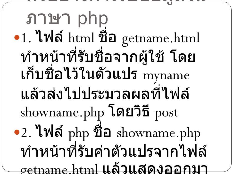ตัวอย่างการรับข้อมูลในภาษา php