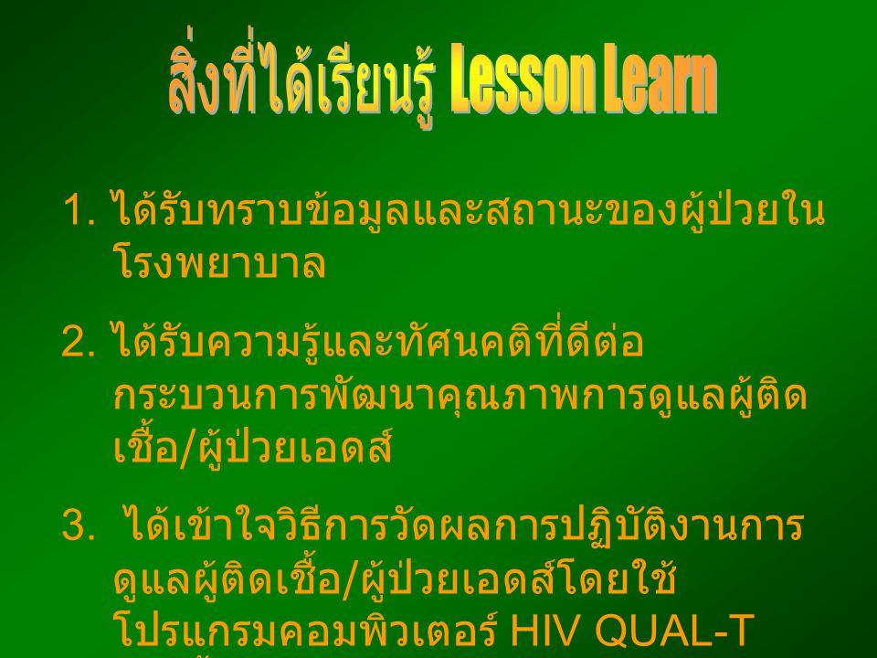 สิ่งที่ได้เรียนรู้ Lesson Learn
