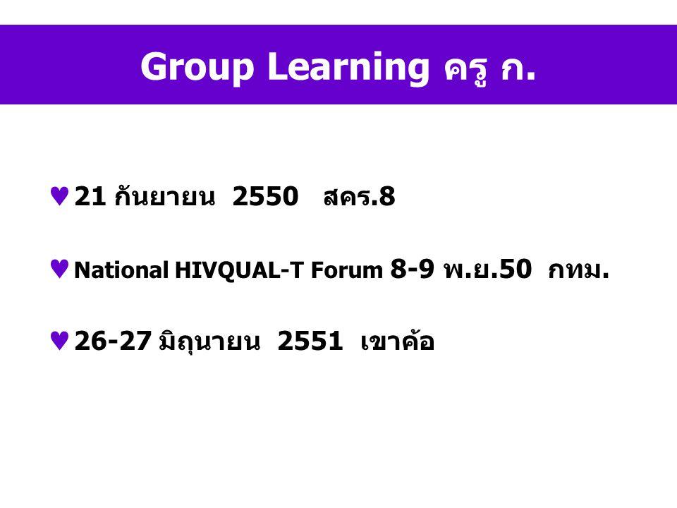 Group Learning ครู ก. 21 กันยายน 2550 สคร.8