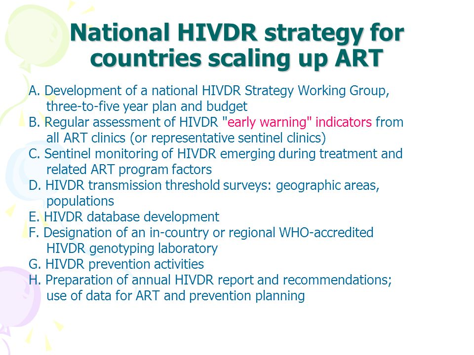 National HIVDR strategy for countries scaling up ART