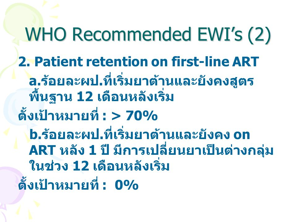 WHO Recommended EWI's (2)
