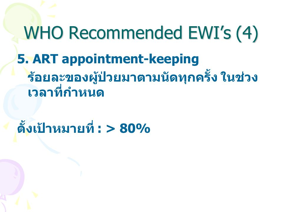 WHO Recommended EWI's (4)