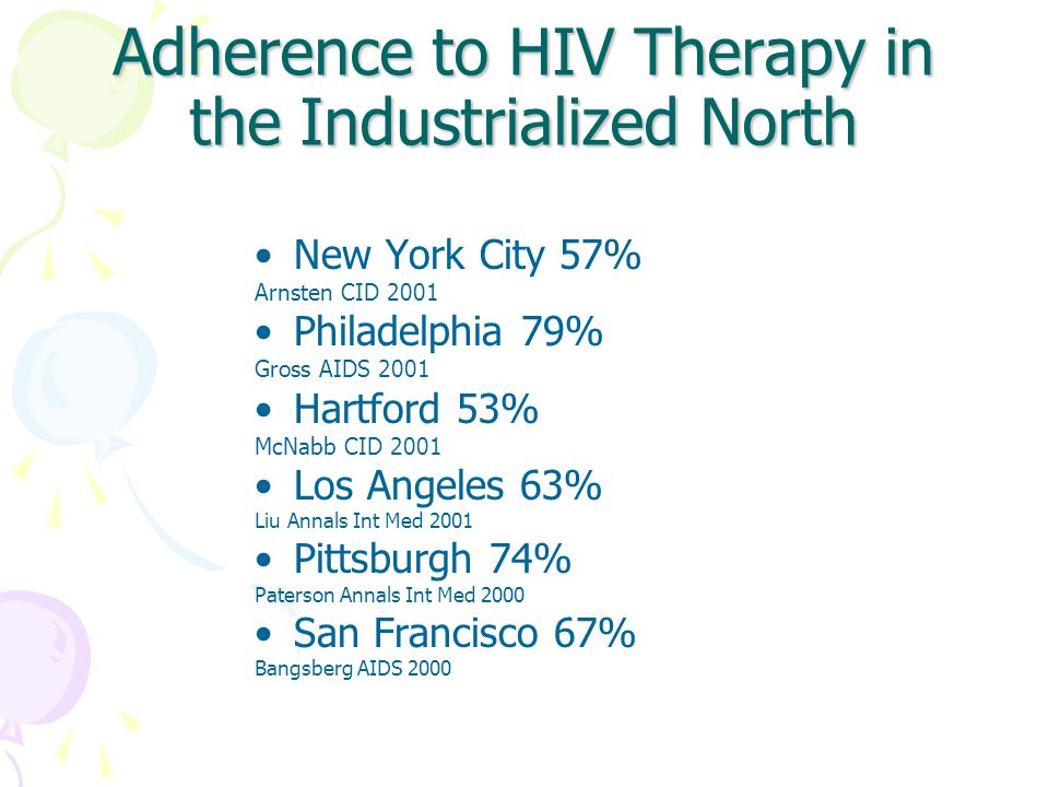 Adherence to HIV Therapy in the Industrialized North