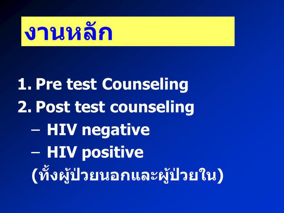 งานหลัก Pre test Counseling Post test counseling HIV negative