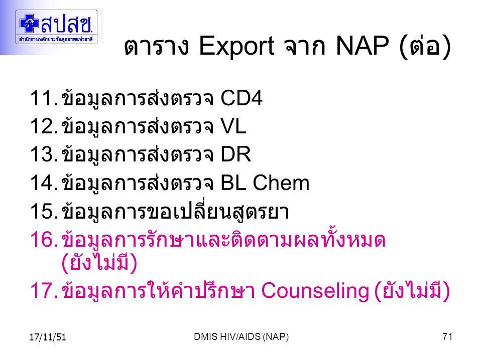 ตาราง Export จาก NAP (ต่อ)