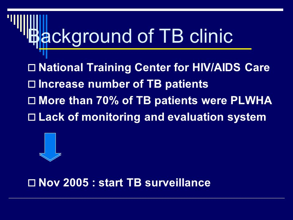 Background of TB clinic