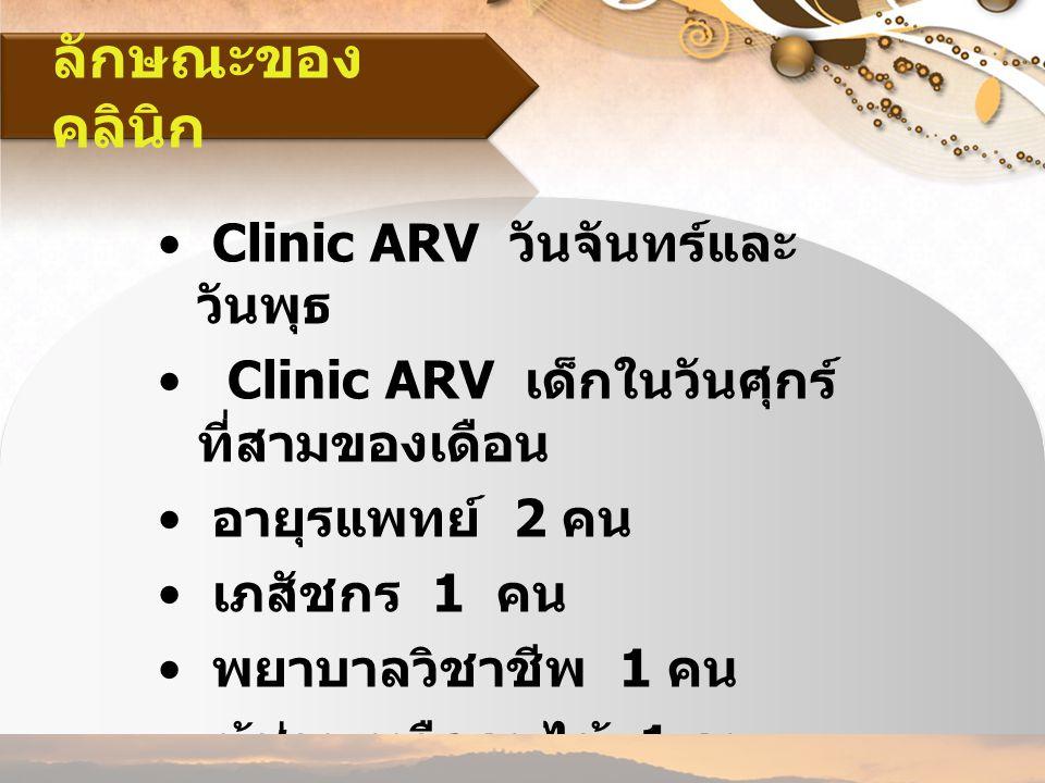 ลักษณะของคลินิก Clinic ARV วันจันทร์และวันพุธ
