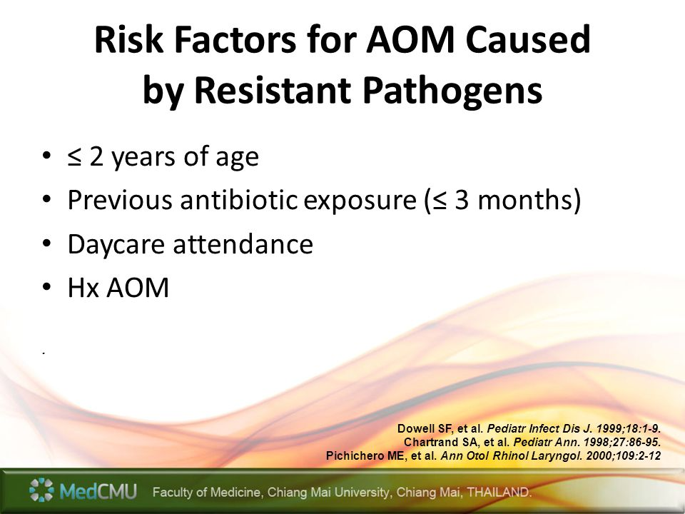 Risk Factors for AOM Caused by Resistant Pathogens