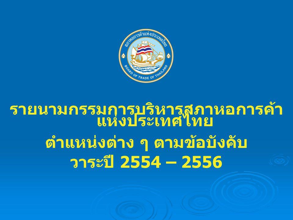 รายนามกรรมการบริหารสภาหอการค้าแห่งประเทศไทย ตำแหน่งต่าง ๆ ตามข้อบังคับ