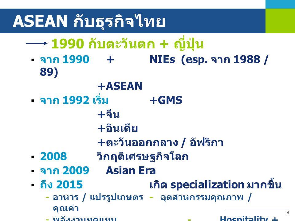 ASEAN กับธุรกิจไทย จาก 1990 + NIEs (esp. จาก 1988 / 89) + ASEAN