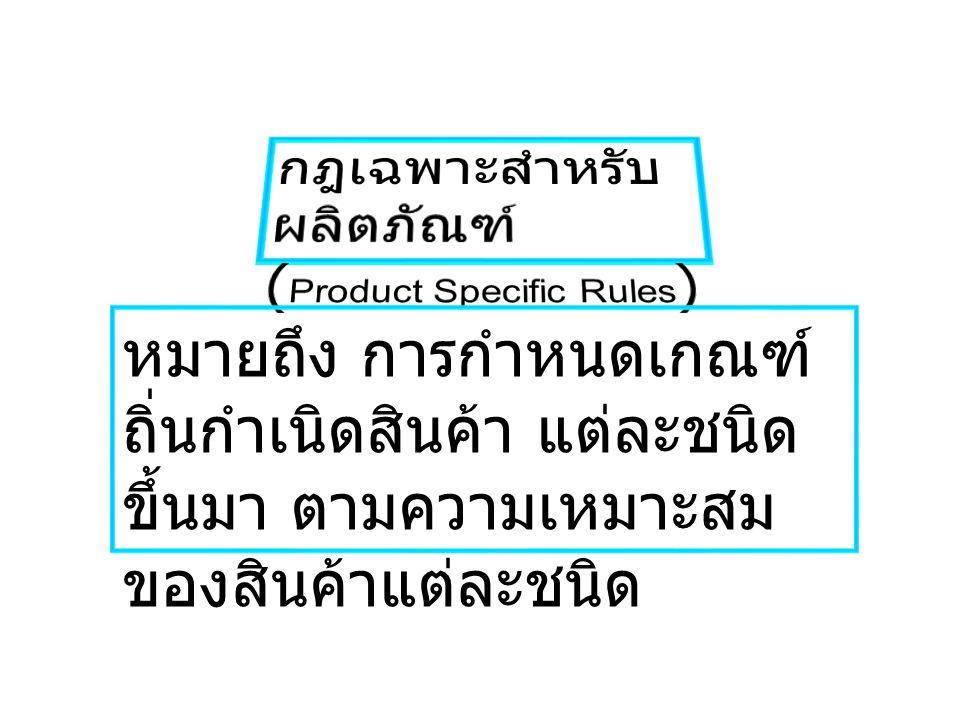 กฎเฉพาะสำหรับผลิตภัณฑ์