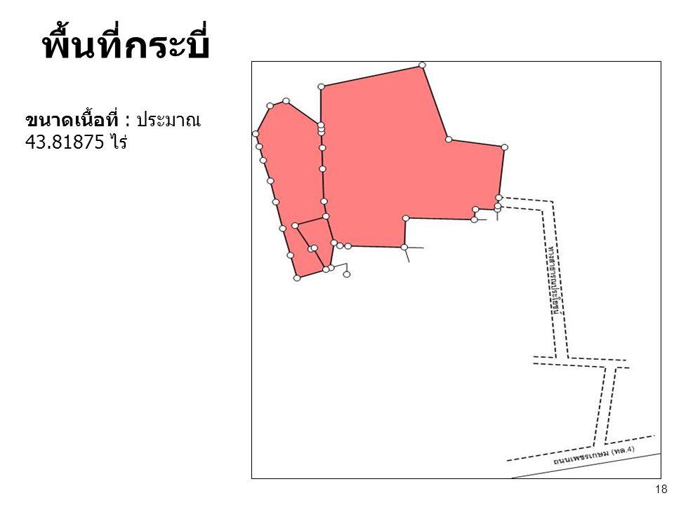 พื้นที่กระบี่ ขนาดเนื้อที่ : ประมาณ 43.81875 ไร่ 18