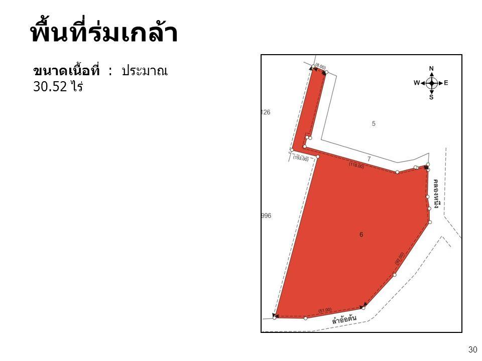 พื้นที่ร่มเกล้า ขนาดเนื้อที่ : ประมาณ 30.52 ไร่ 30