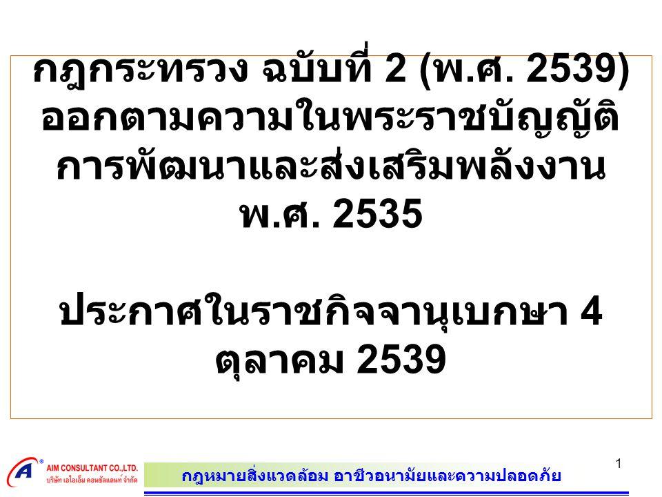 กฎกระทรวง ฉบับที่ 2 (พ.ศ. 2539) ออกตามความในพระราชบัญญัติการพัฒนาและส่งเสริมพลังงาน พ.ศ.
