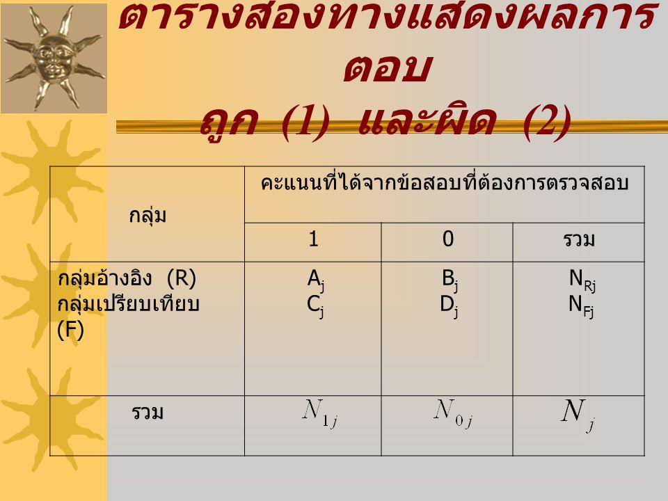 ตารางสองทางแสดงผลการตอบ ถูก (1) และผิด (2)