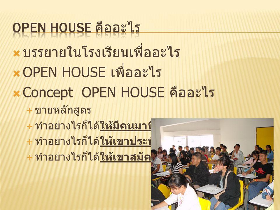 บรรยายในโรงเรียนเพื่ออะไร OPEN HOUSE เพื่ออะไร