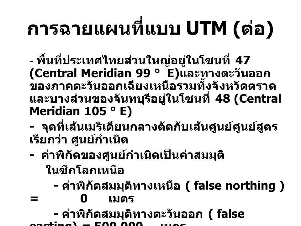 การฉายแผนที่แบบ UTM (ต่อ)