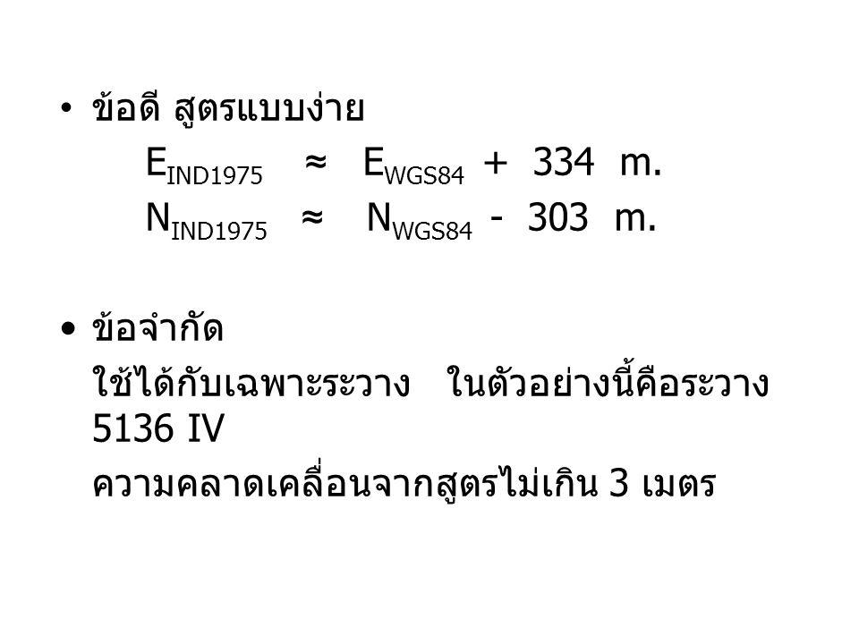 ข้อดี สูตรแบบง่าย EIND1975 ≈ EWGS84 + 334 m. NIND1975 ≈ NWGS84 - 303 m. ข้อจำกัด.