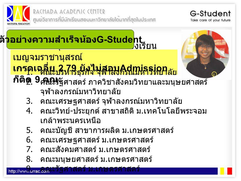 ตัวอย่างความสำเร็จน้องG-Student