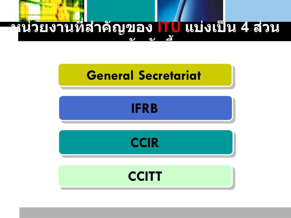 หน่วยงานที่สำคัญของ ITU แบ่งเป็น 4 ส่วนหลักดังนี้