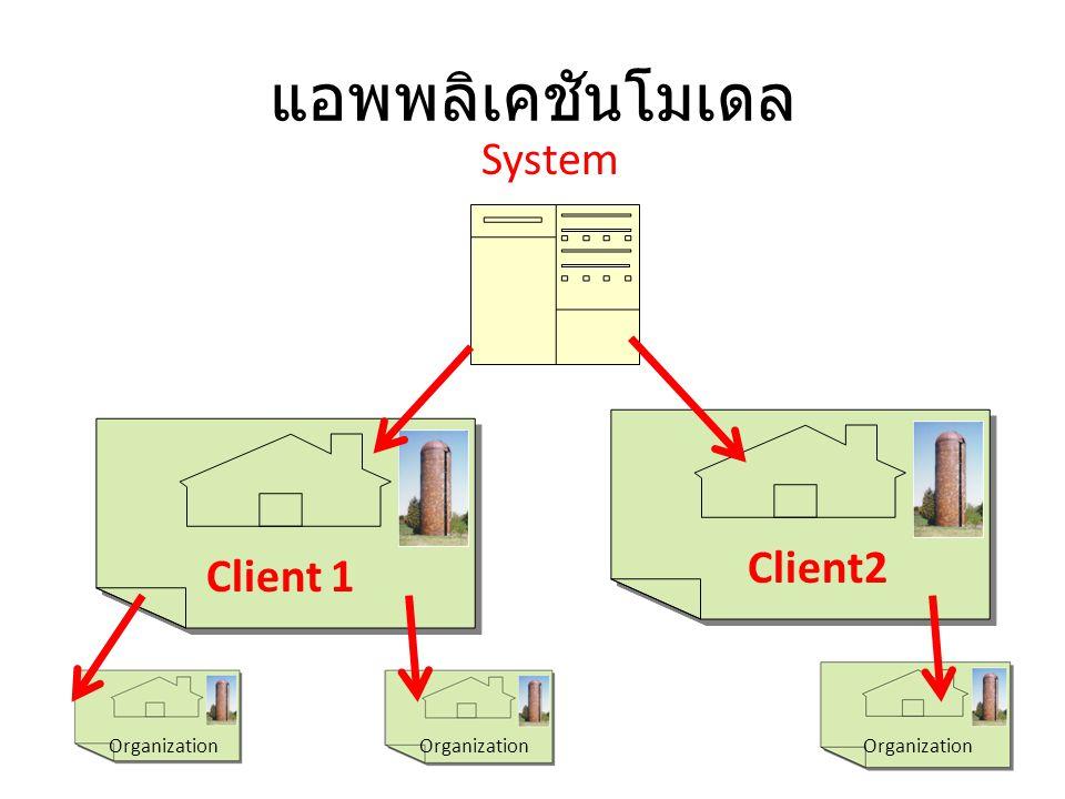 แอพพลิเคชันโมเดล System Client2 Client 1 Organization Organization