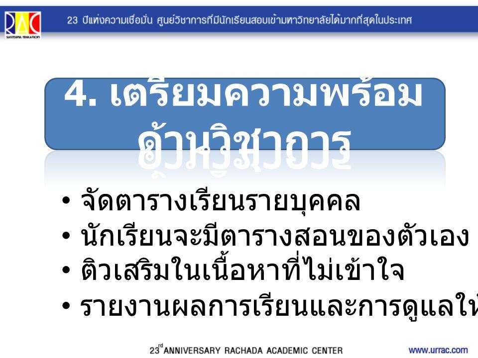 4. เตรียมความพร้อมด้านวิชาการ