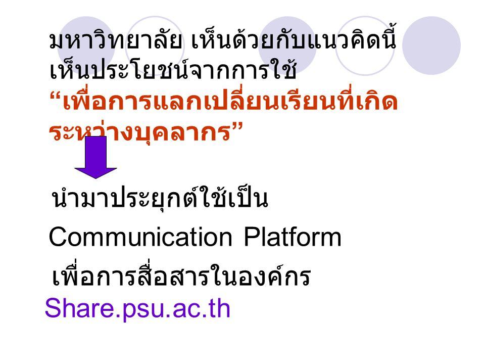 Communication Platform เพื่อการสื่อสารในองค์กร Share.psu.ac.th