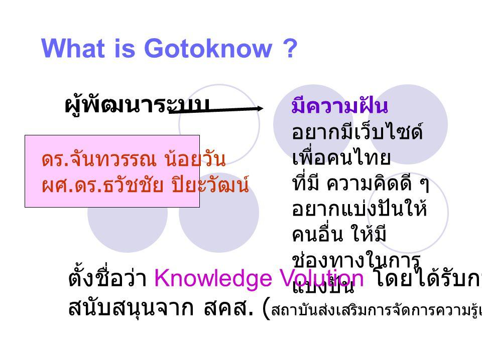What is Gotoknow ผู้พัฒนาระบบ