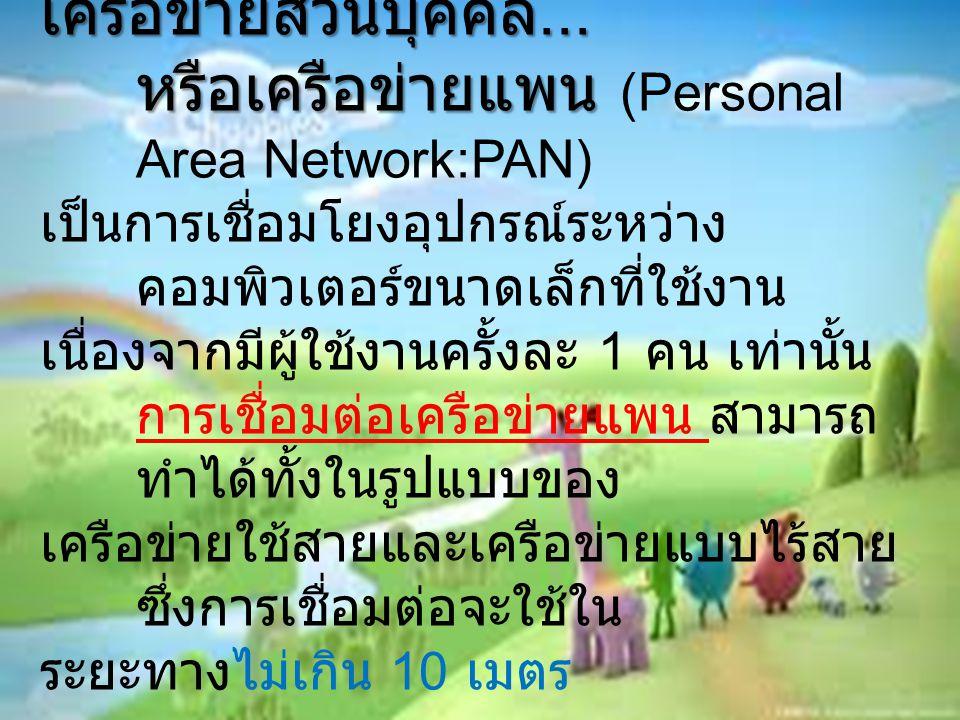 หรือเครือข่ายแพน (Personal Area Network:PAN)