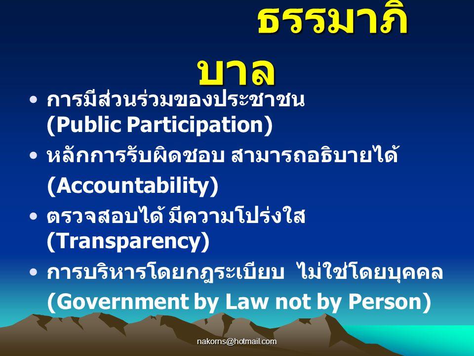 ธรรมาภิบาล การมีส่วนร่วมของประชาชน (Public Participation)