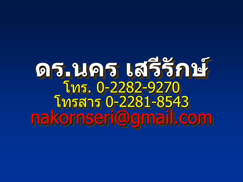 ดร. นคร เสรีรักษ์ โทร. 0-2282-9270 โทรสาร 0-2281-8543 nakornseri@gmail