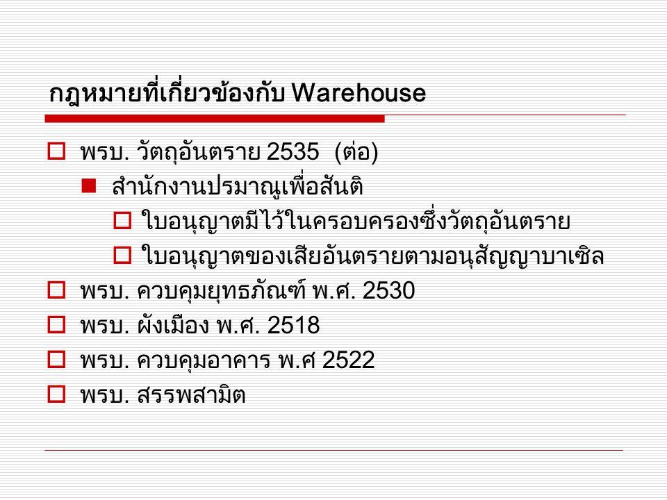 กฎหมายที่เกี่ยวข้องกับ Warehouse