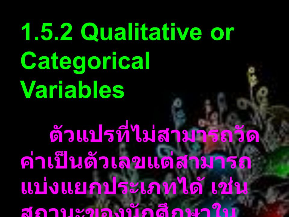 1.5.2 Qualitative or Categorical Variables