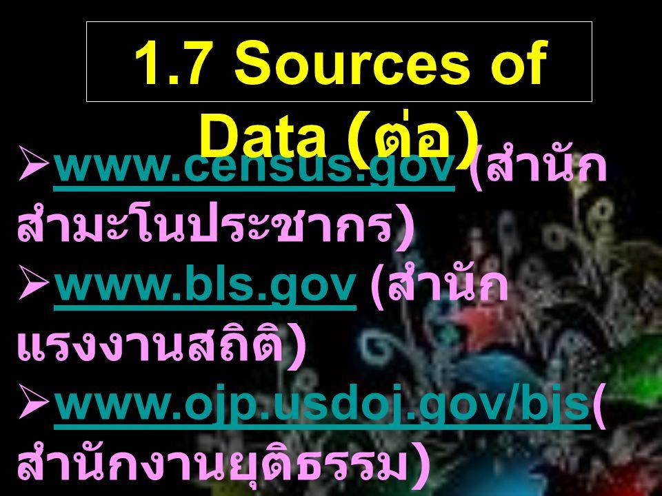 1.7 Sources of Data (ต่อ) www.census.gov (สำนักสำมะโนประชากร)