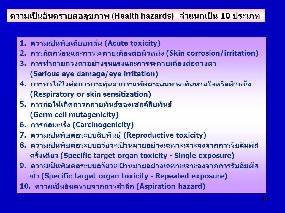 ความเป็นอันตรายต่อสุขภาพ (Health hazards) จำแนกเป็น 10 ประเภท