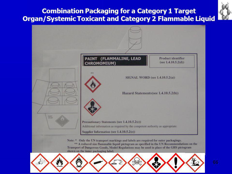 Combination Packaging for a Category 1 Target Organ/Systemic Toxicant and Category 2 Flammable Liquid
