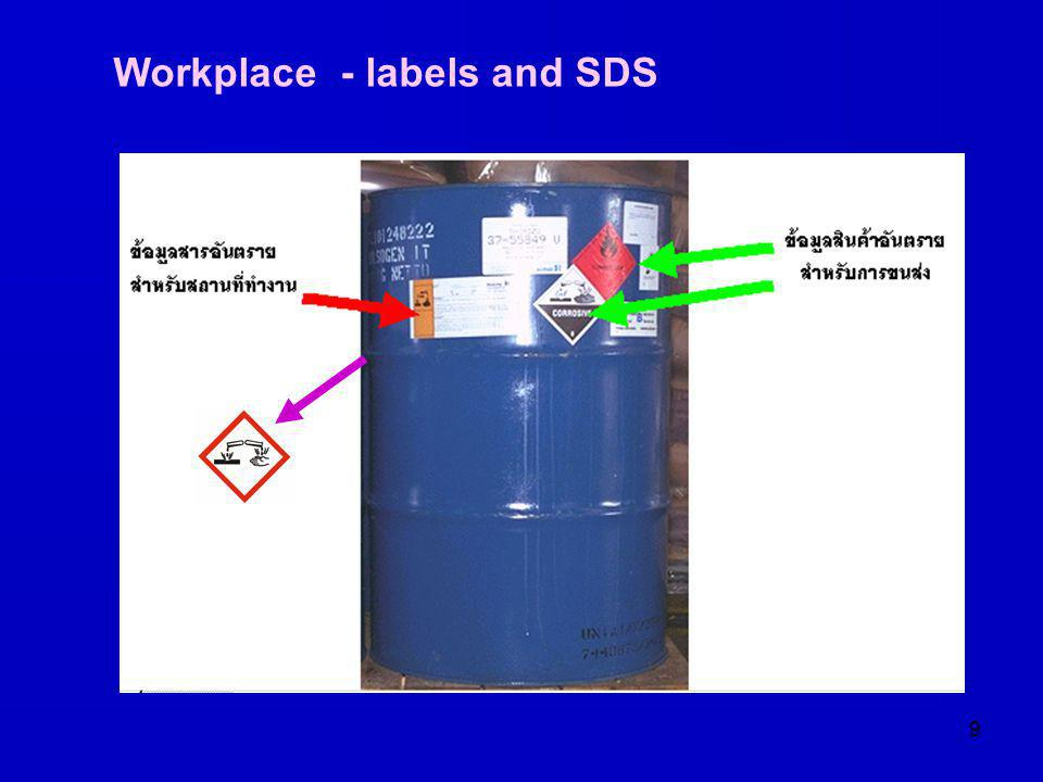 Workplace - labels and SDS