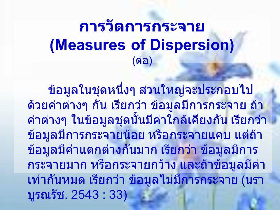 การวัดการกระจาย (Measures of Dispersion) (ต่อ)