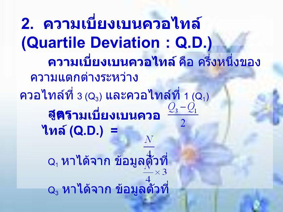 2. ความเบี่ยงเบนควอไทล์ (Quartile Deviation : Q.D.)