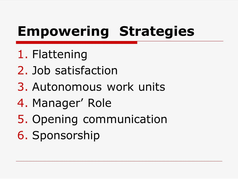 Empowering Strategies