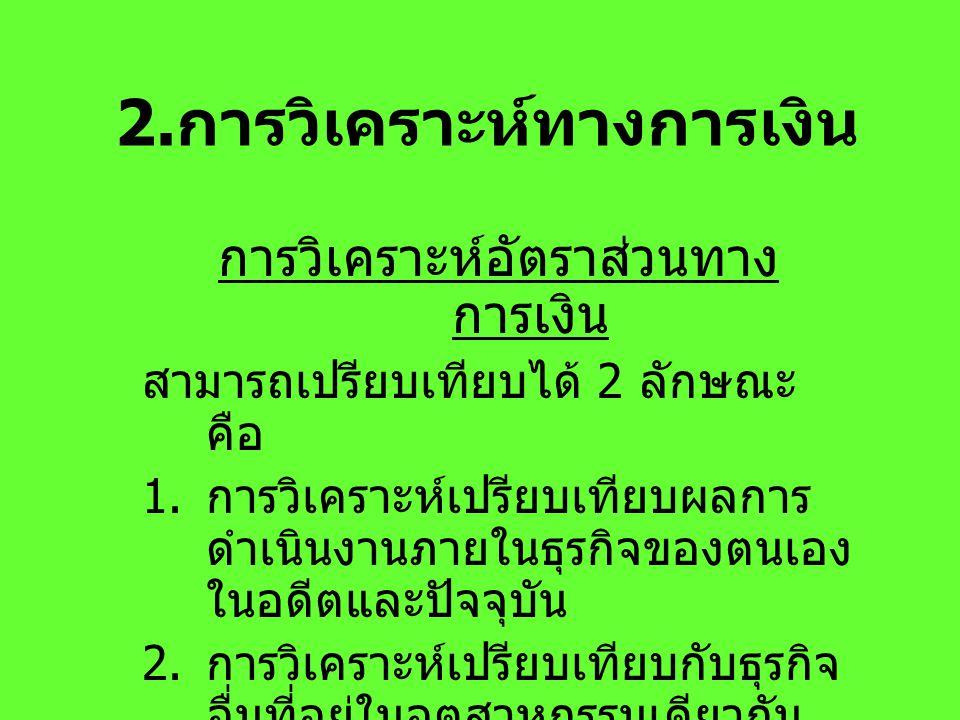 2.การวิเคราะห์ทางการเงิน
