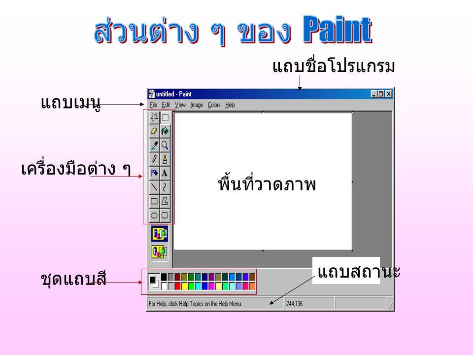 ส่วนต่าง ๆ ของ Paint แถบชื่อโปรแกรม แถบเมนู เครื่องมือต่าง ๆ