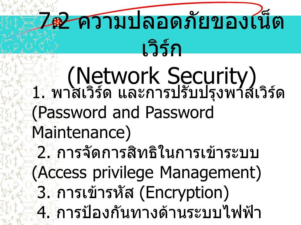 7.2 ความปลอดภัยของเน็ตเวิร์ก (Network Security)