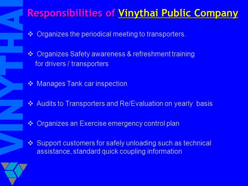 Responsibilities of Vinythai Public Company