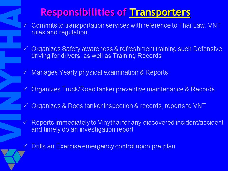 Responsibilities of Transporters