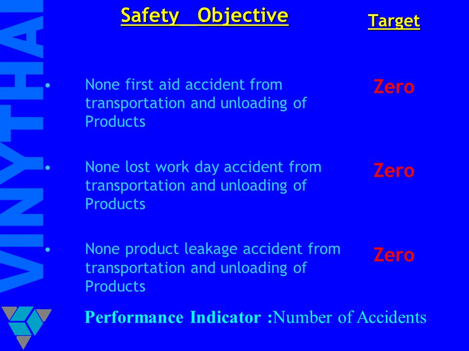 Safety Objective Zero Performance Indicator :Number of Accidents