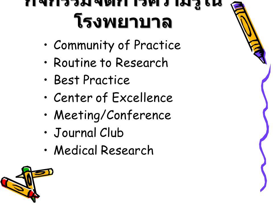 กิจกรรมจัดการความรู้ในโรงพยาบาล