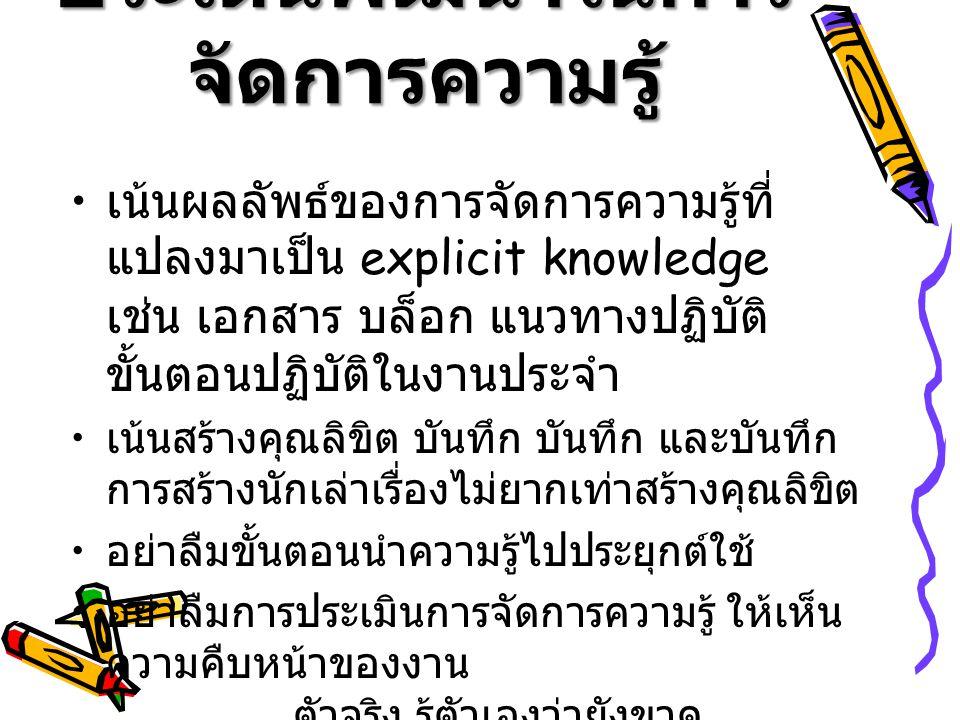 ประเด็นพัฒนาในการจัดการความรู้