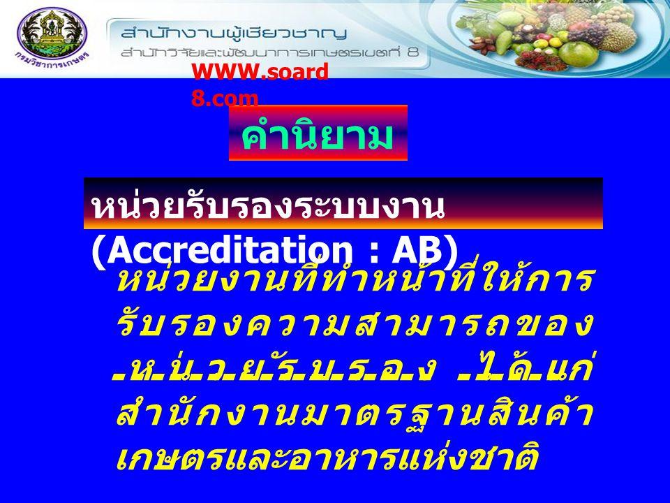 คำนิยาม หน่วยรับรองระบบงาน (Accreditation : AB)